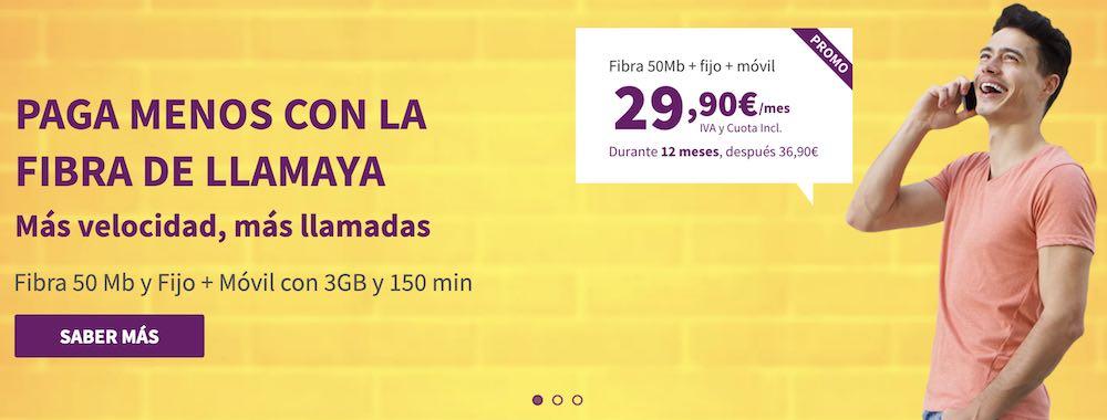 Nuevas tarifas fibra y móvil Llamaya, abril 2019