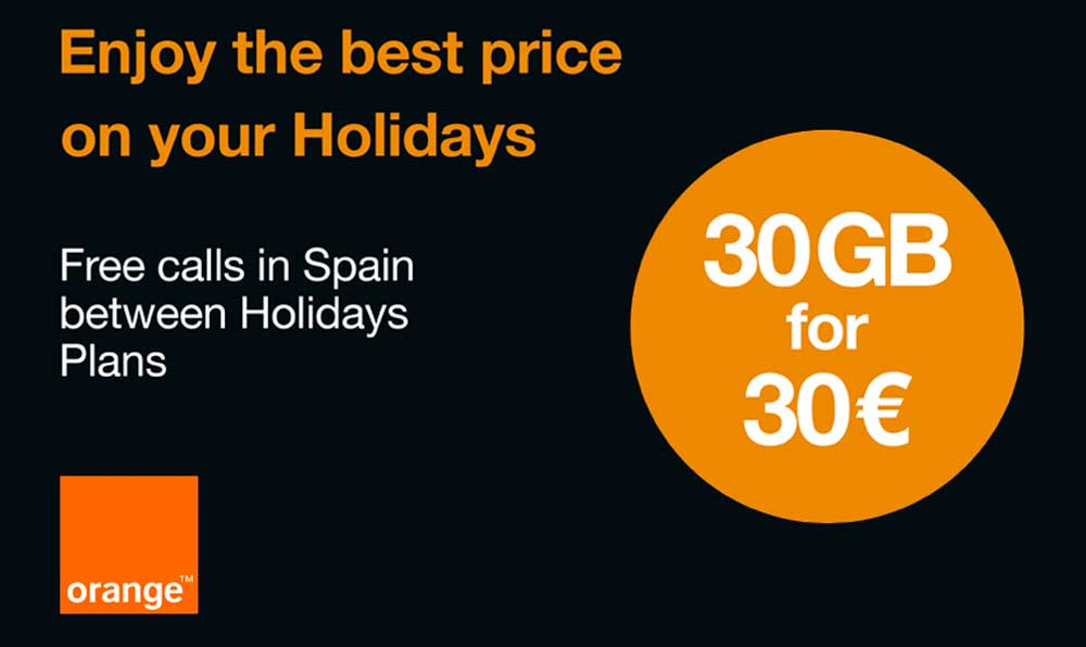 Orange Holidays: 30 GB por 30 euros en prepago