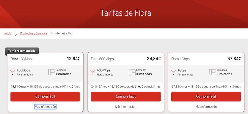 Tarifas fibra Vodafone, abril 2019