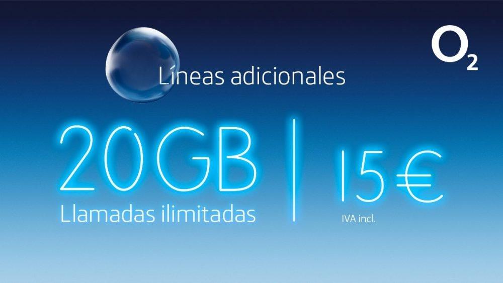 O2 mejora sus líneas móviles adicionales, ahora con 20 GB