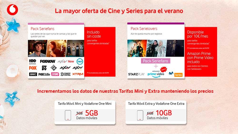 Vodafone suma gigas gratis a sus tarifas básicas e incluye series gratis en las ilimitadas