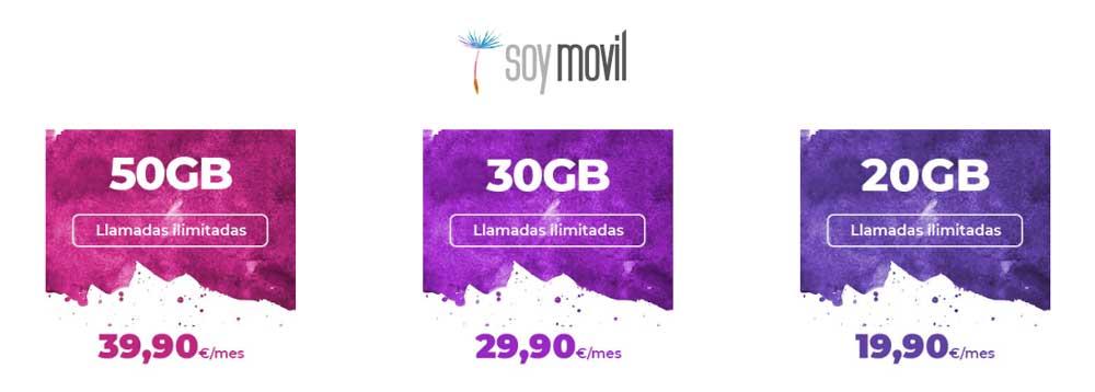 SoyMóvil nuevas tarifas, agosto 2019