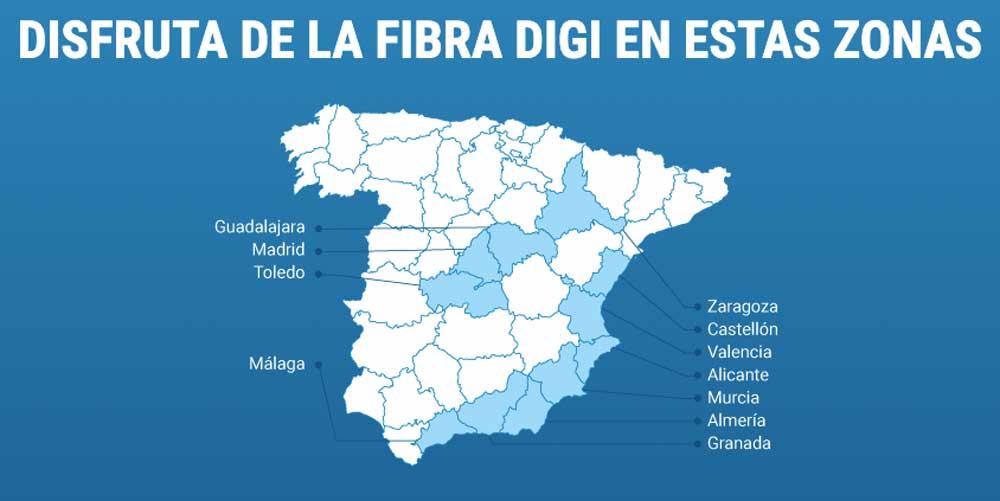 Fibra Digi, cobertura por provincias