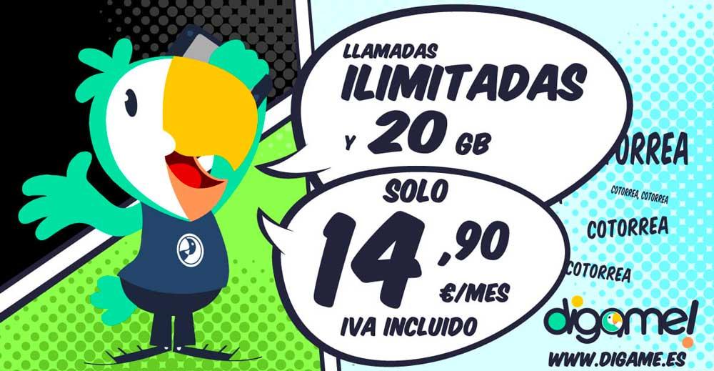 Dígame mejora sus tarifas: 30 gigas por 19,90 euros