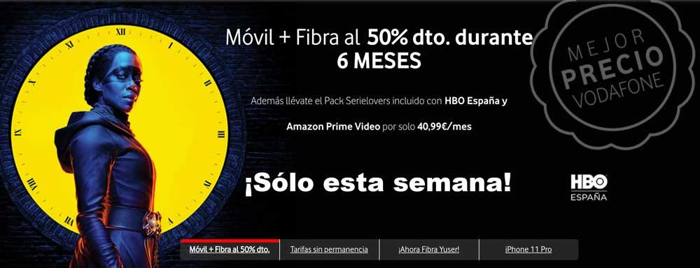 Oferta fibra y móvil Vodafone, noviembre 2019