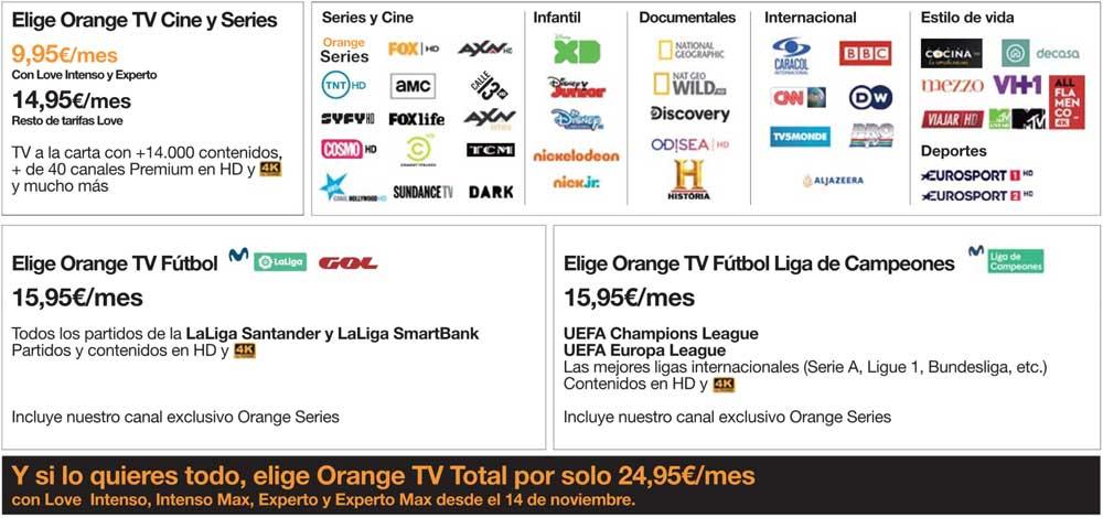 Orange TV Total: todos los packs de Orange TV por 24,95 euros