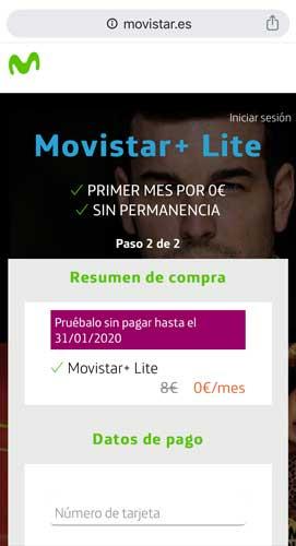 Cómo contratar Movistar Plus Lite, paso 4