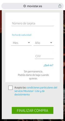 Cómo contratar Movistar Plus Lite, paso 5