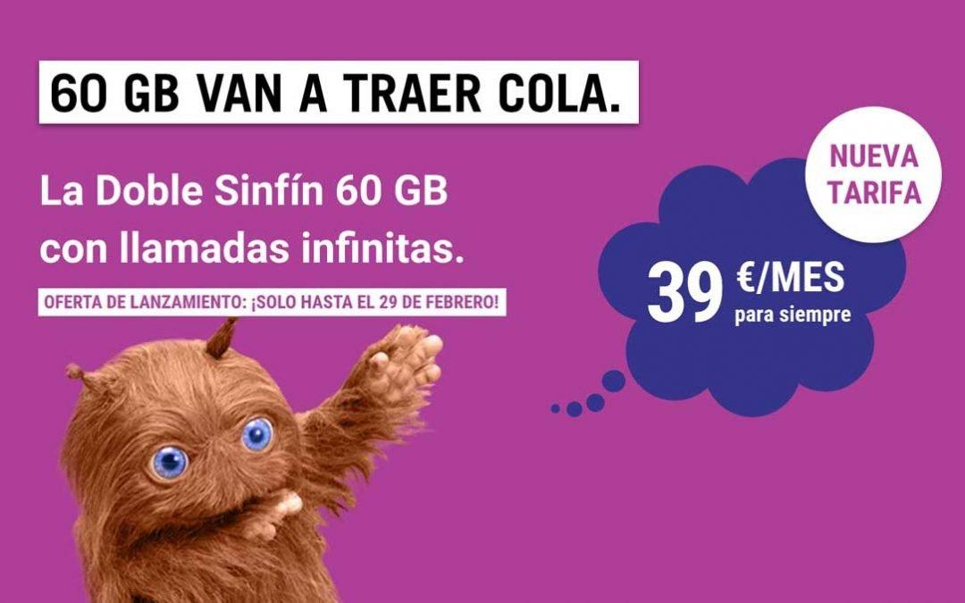 La Doble Sin Fín de Yoigo: 60 gigas para dos líneas por 39 euros al mes