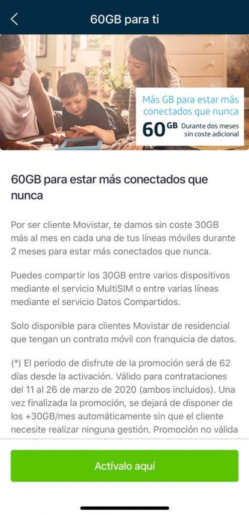 Cómo activar los 60 gigas gratis de Movistar por el coronavirus, paso 3