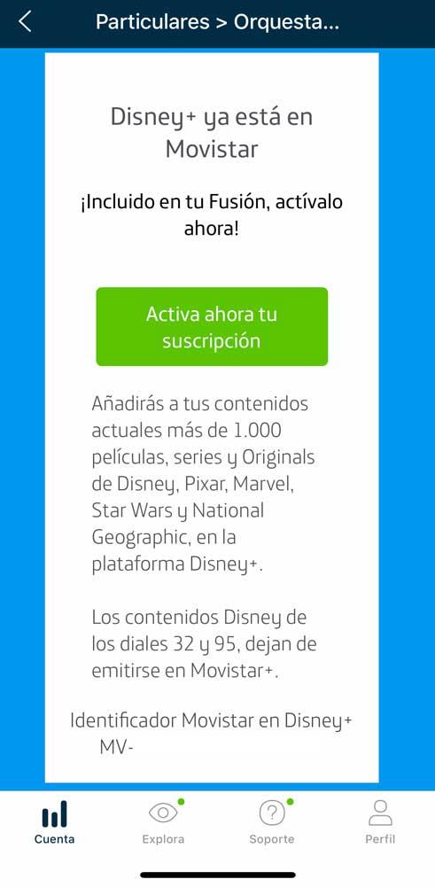 Cómo activar Disney plus con Movistar, paso 2