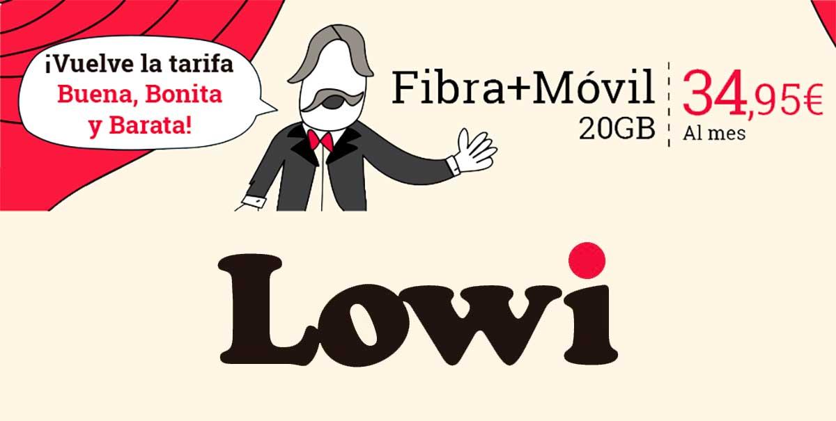 Lowi recupera su mejor tarifa de fibra y móvil, marzo 2020