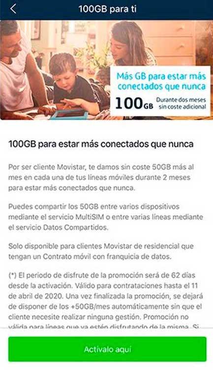 Cómo activar los 100 gigas gratis de Movistar por el coronavirus, paso 3
