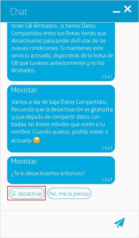 Cómo activar los datos ilimitados de Movistar, paso 4