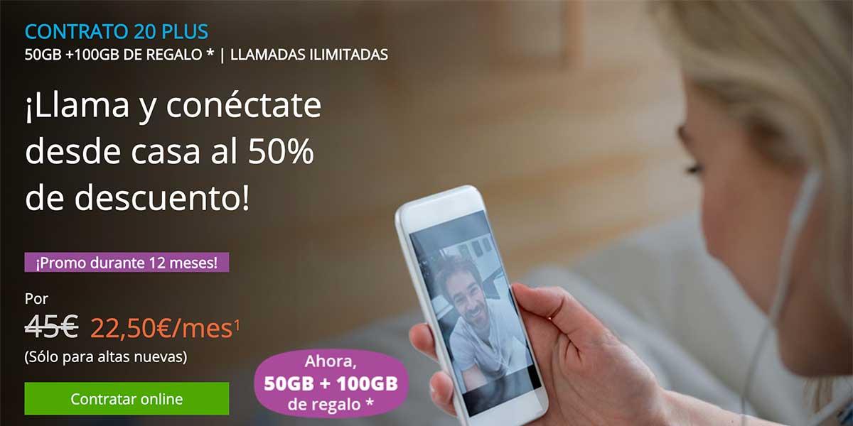 Movistar promoción tarifa Contrato 20 Plus, abril 2020