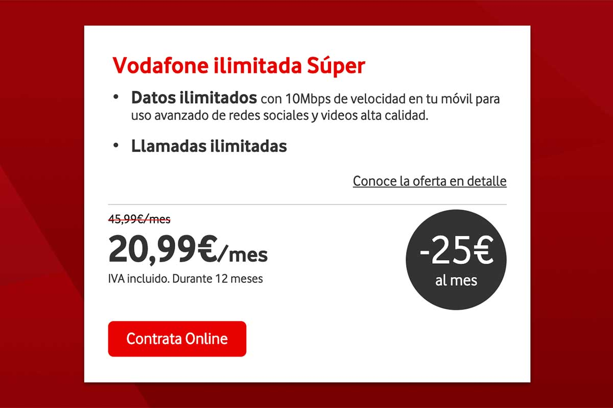 Vodafone promoción tarifas de datos ilimitados, abril 2020
