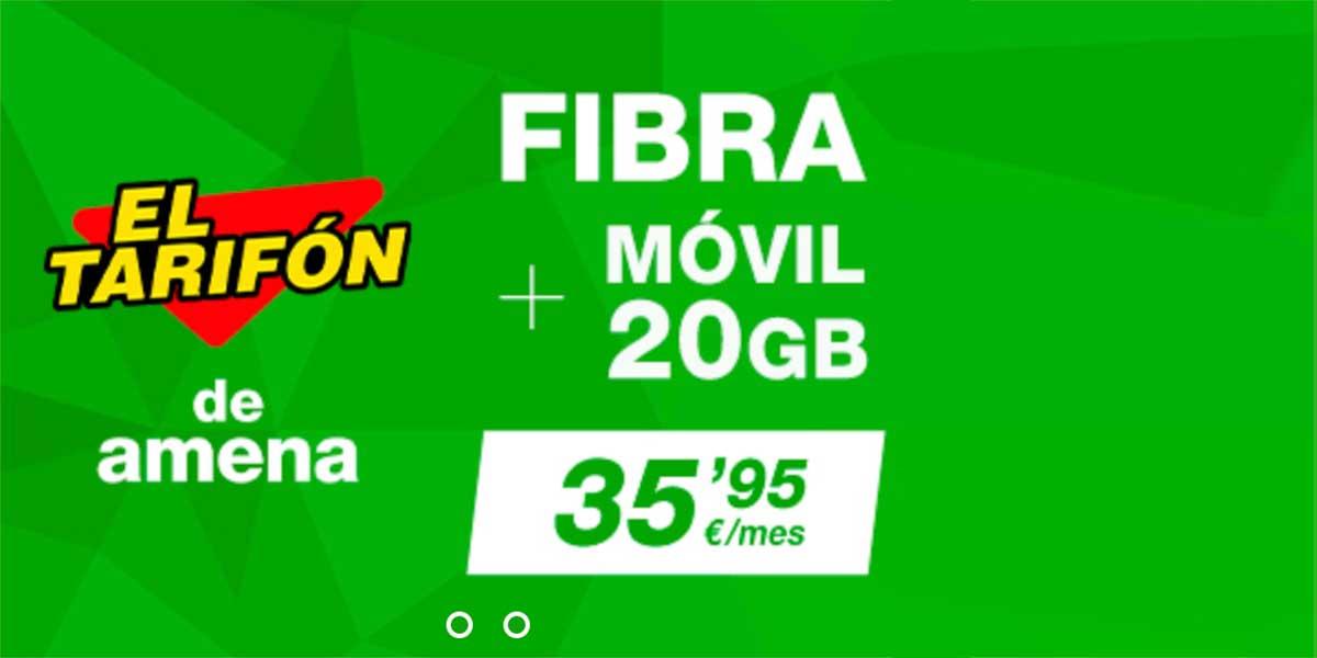 Amena nueva tarifa de fibra y móvil, mayo 2020