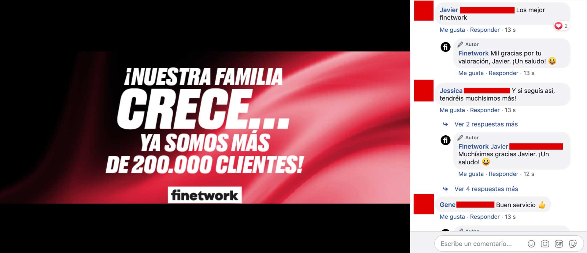Finetwork, opiniones en Facebook