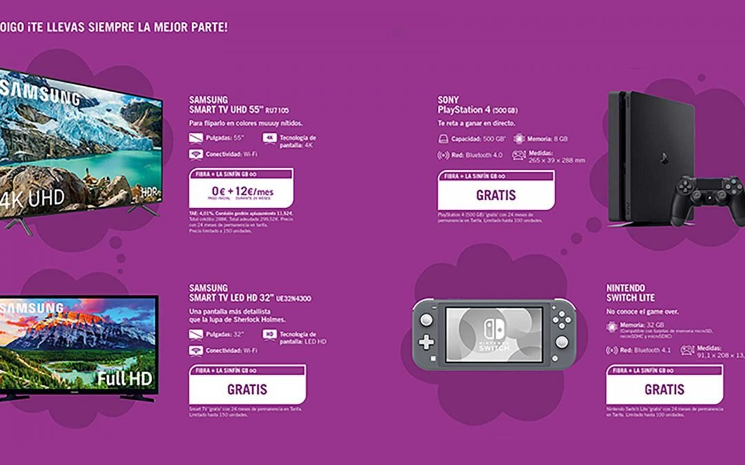 Yoigo ofrece gratis una Switch Lite, PlayStation o una Smart TV para portabilidades