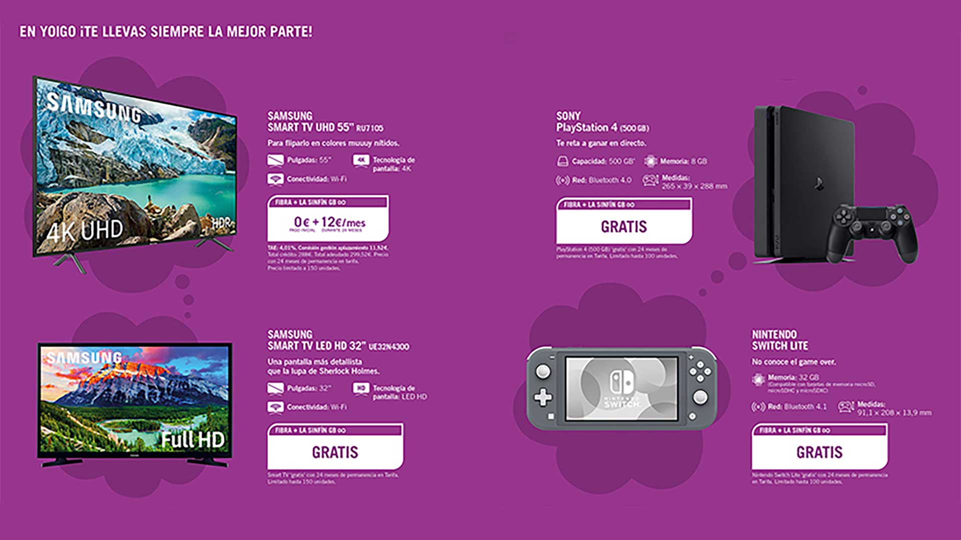 Yoigo consolas y smart TV gratis con portabilidad, junio 2020