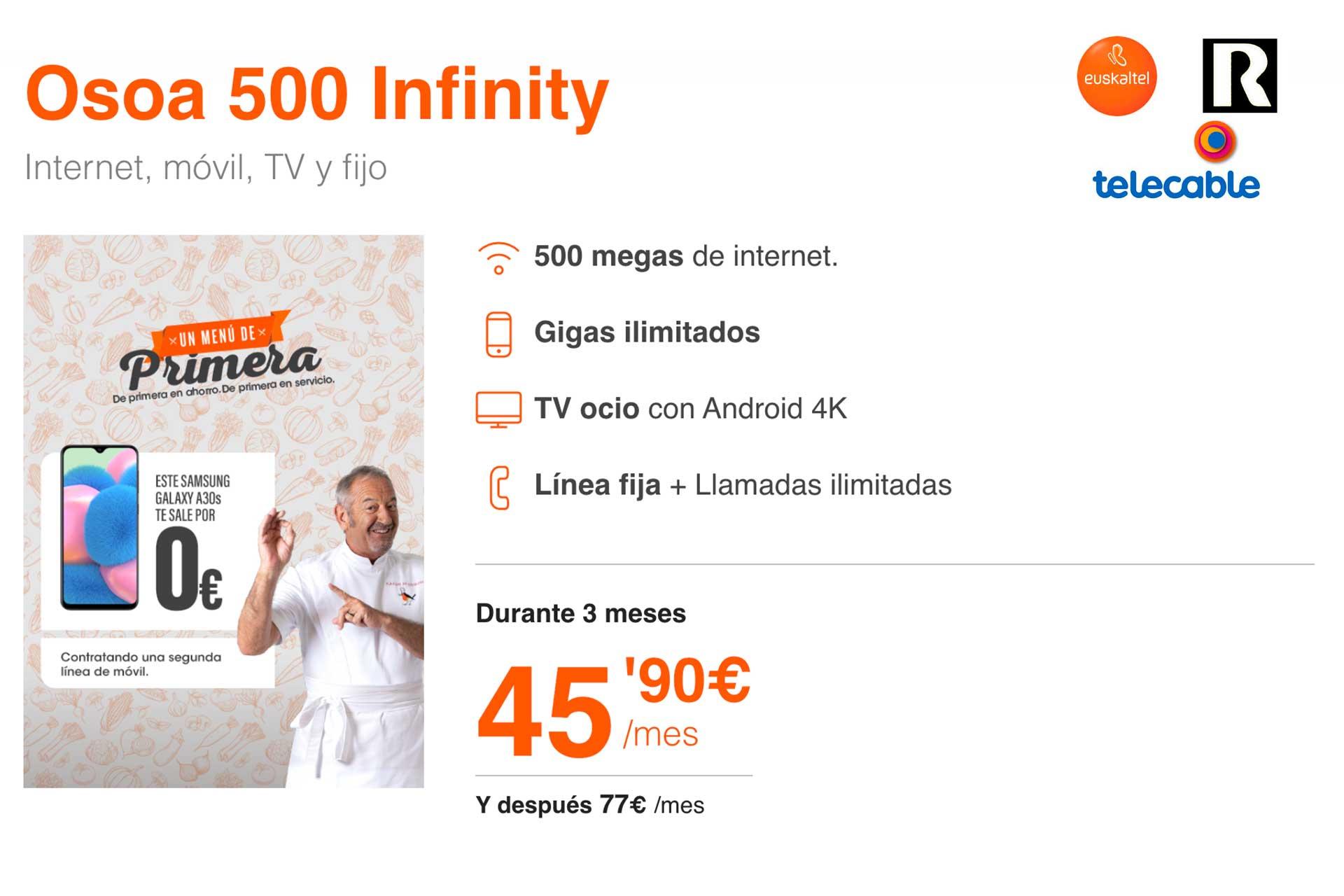 Euskaltel, R y telecable datos ilimitados