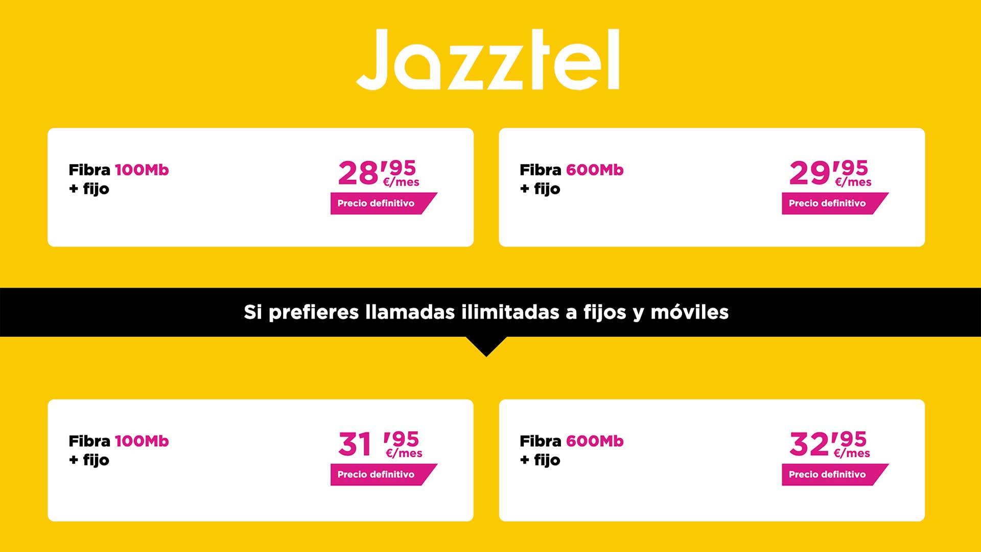 Jazztel nuevas tarifas solo fibra, agosto 2020