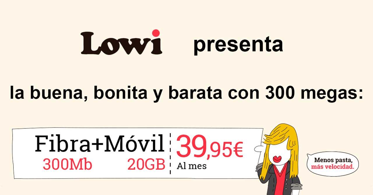 Lowi promoción pack 300 megas