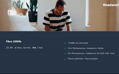Finetwork sube el precio del alta en sus tarifas de fibra sin permanencia