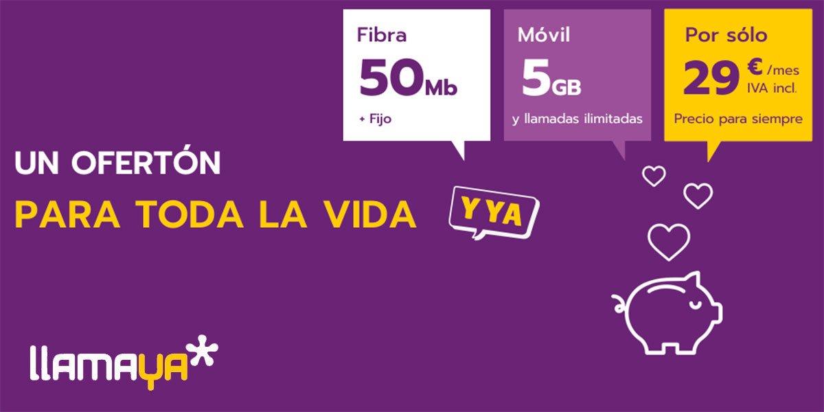 Llamaya nuevos packs fibra y móvil, octubre 2020