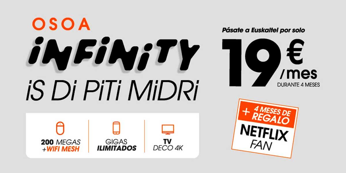 Euskaltel oferta Osoa Infinity Netflix gratis