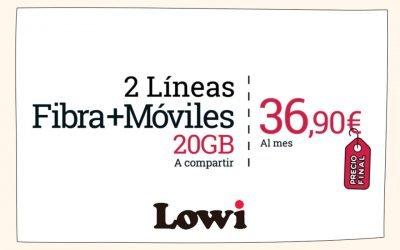 El (no) nuevo pack de Lowi: fibra y dos móviles con 20 GB por 36,90 euros