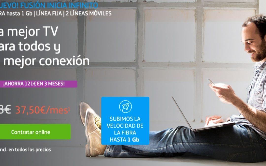 Movistar Fusión Inicia Infinito: datos ilimitados y fibra a 1 Gbps por 78 euros al mes