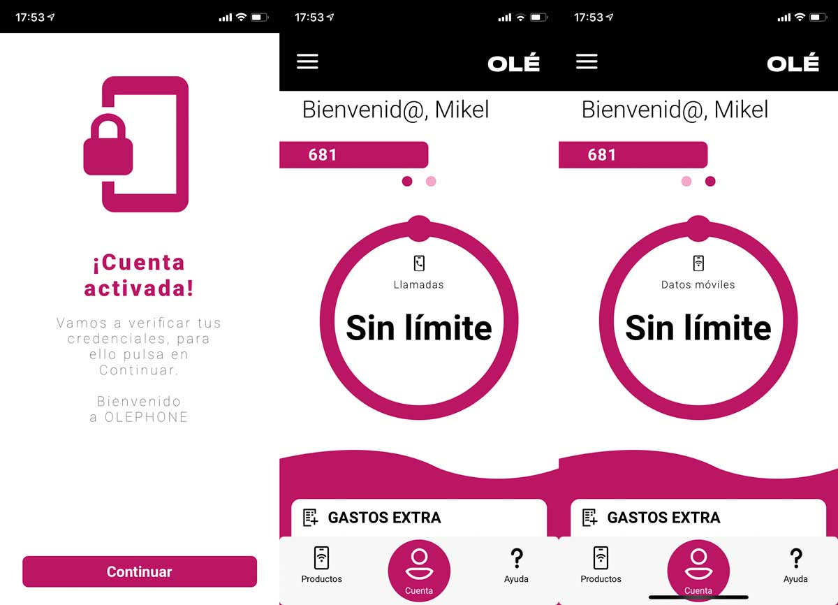 Oléphone app usuarios