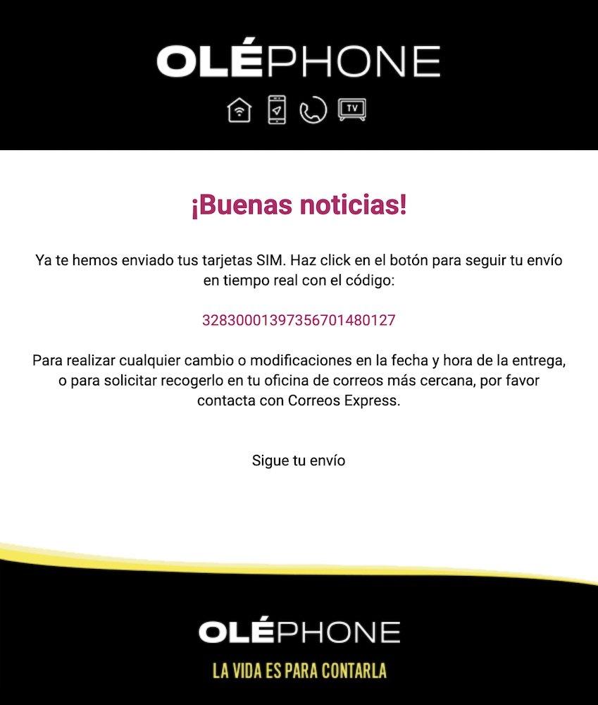 Oléphone mail envío SIM