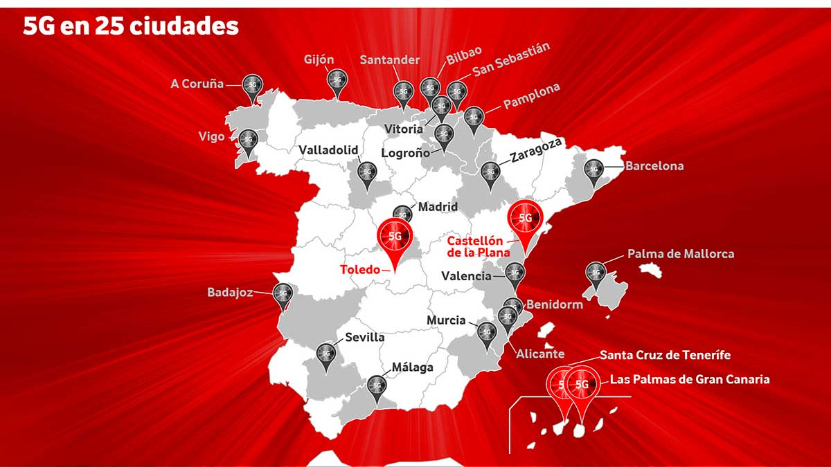 Cobertura 5G Vodafone marzo 2021