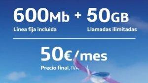 O2 pack fibra móvil 50 GB