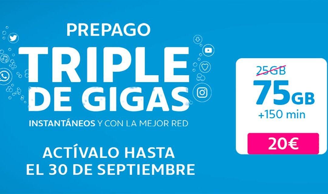 Movistar triplica los gigas de sus tarifas prepago hasta septiembre