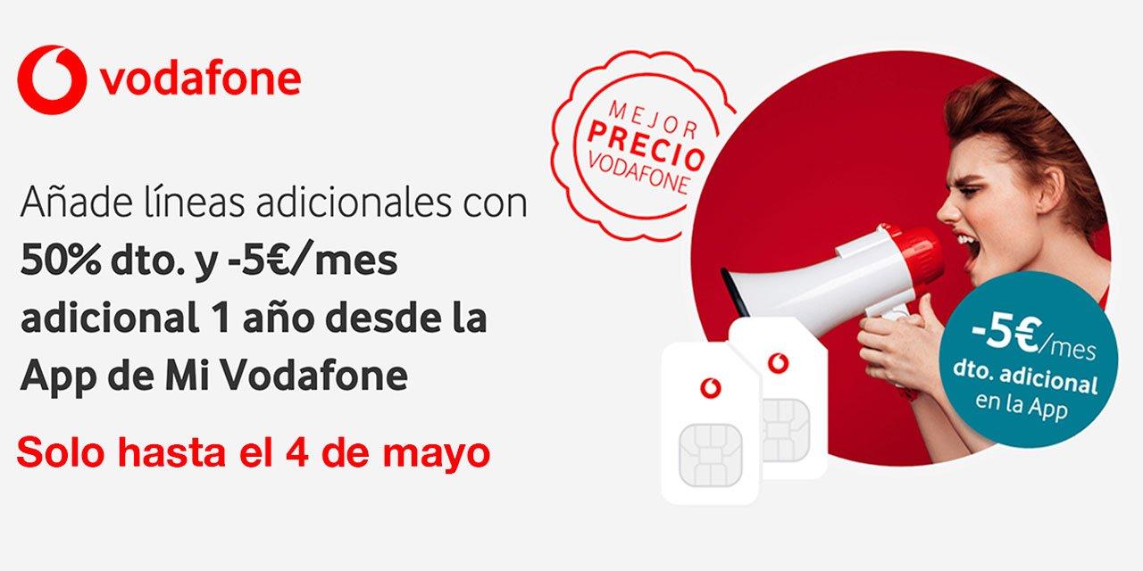 Vodafone descuento líneas adicionales, mayo 2021