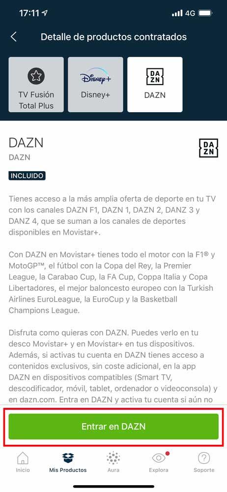 Cómo activar acceso aplicación DAZN Movistar, paso 4