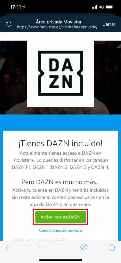 Cómo activar acceso aplicación DAZN Movistar, paso 5