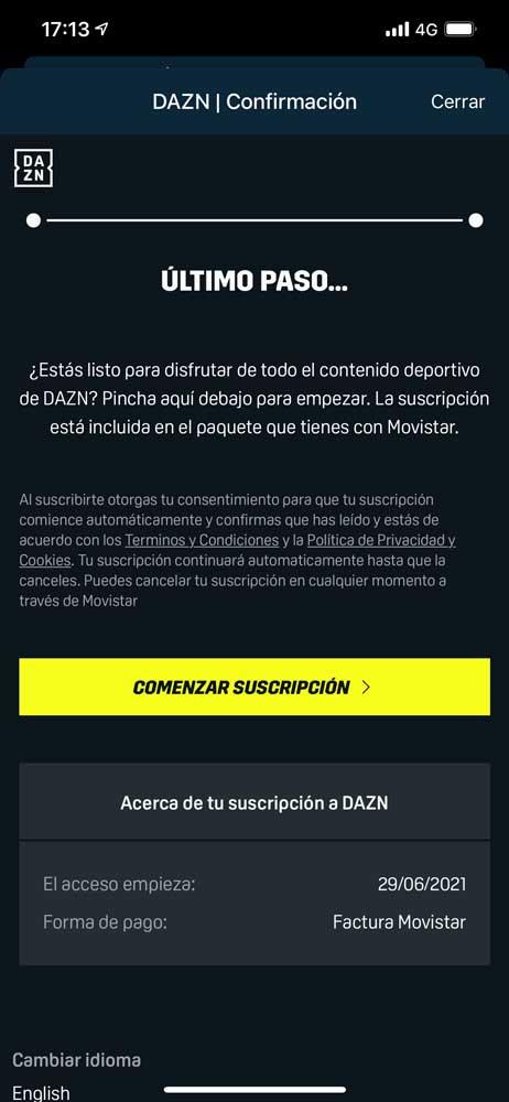Cómo activar acceso aplicación DAZN Movistar, paso 8