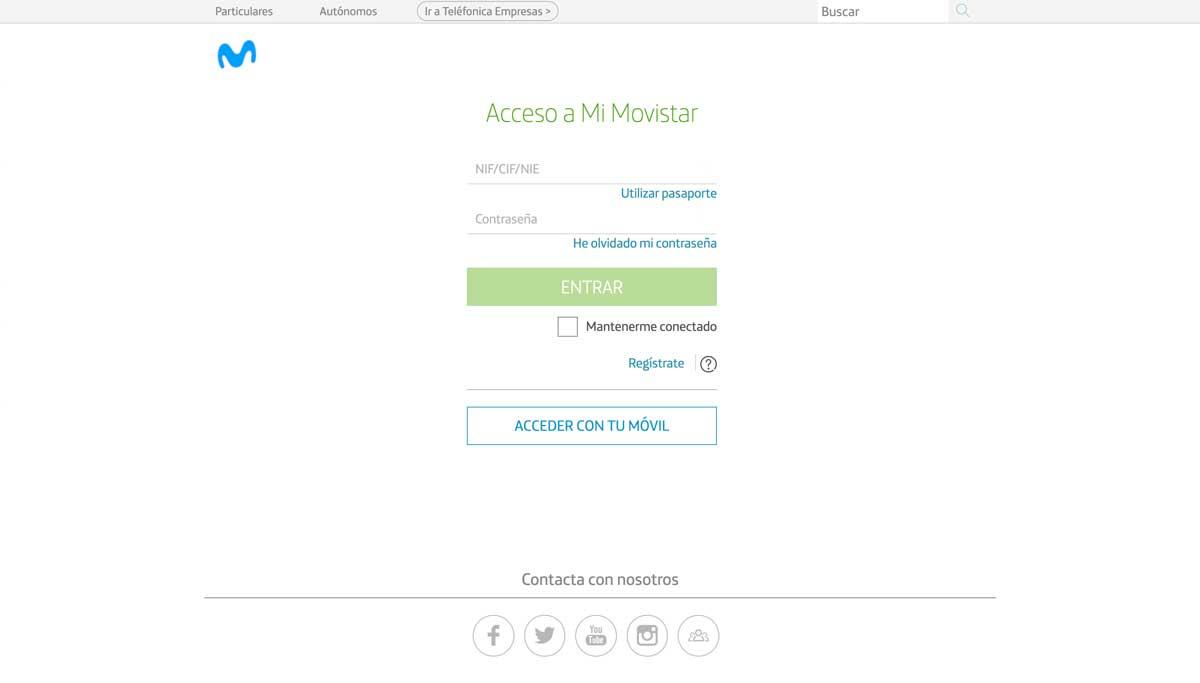 Cómo consultar consumo datos área cliente Movistar, paso 1