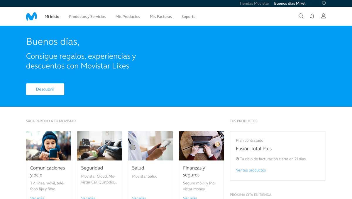Cómo consultar consumo datos área cliente Movistar, paso 2