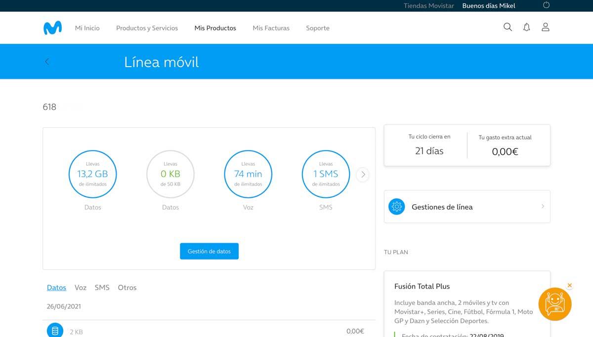 Cómo consultar consumo datos área cliente Movistar, paso 4