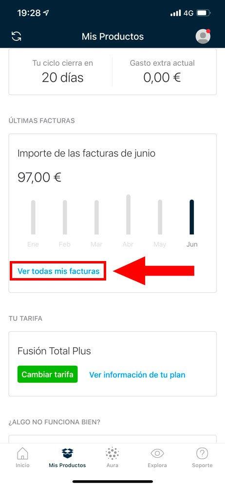 Cómo consultar facturas en Mi Movistar, paso 2