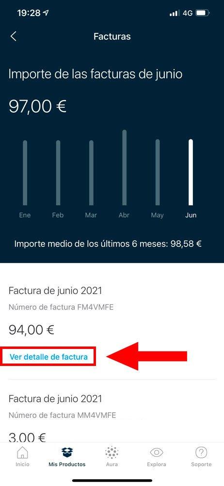 Cómo consultar facturas en Mi Movistar, paso 3