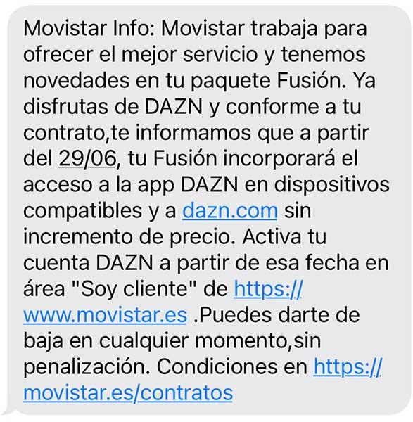 SMS clientes Movistar DAZN