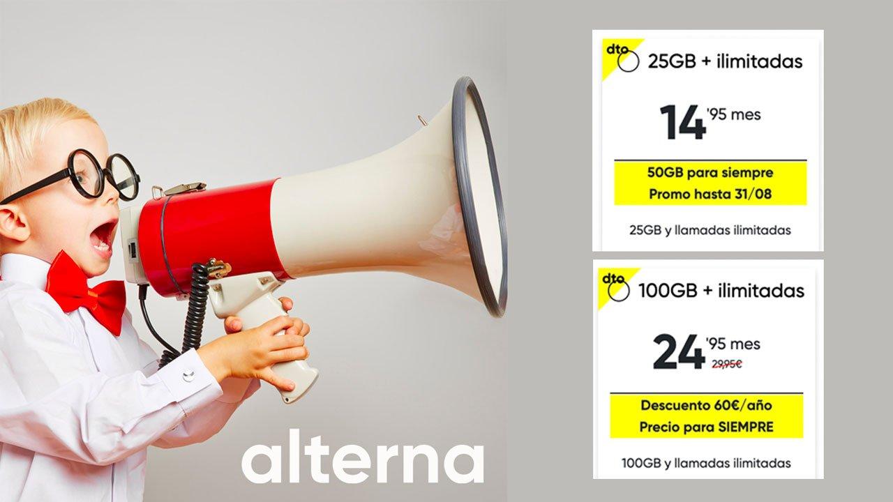 Alterna tarifas móviles con 50 y 100 GB