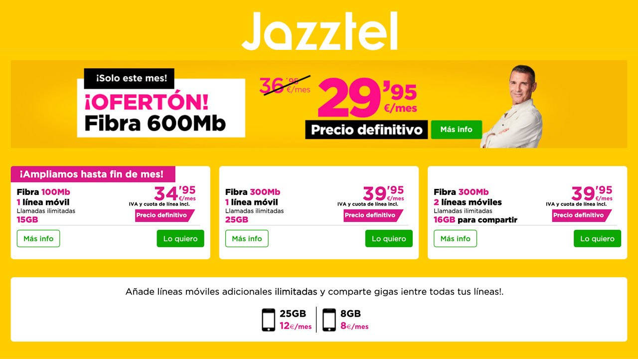 Jazztel tarifas septiembre 2021