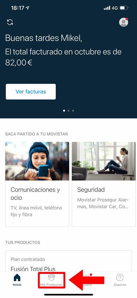 Cómo desactivar pago por uso de datos en Movistar, paso 1